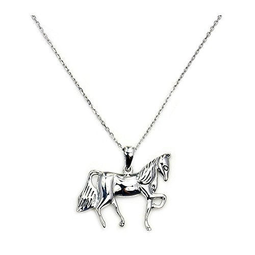 'Tamed Mustang' Solid Sterling Silver Horse Pendant Necklace - The Silver Plaza