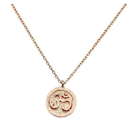 Rose Gold Over Solid Sterling Silver Om (Aum) Symbol Pendant Necklace - Emavera