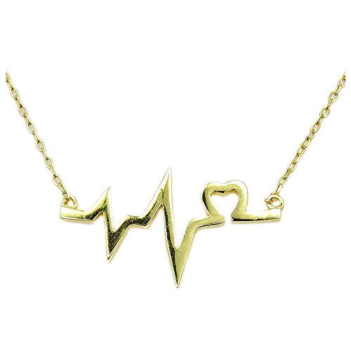 Solid Sterling Silver Gold Vermeil Lifeline & Heart Necklace - The Silver Plaza