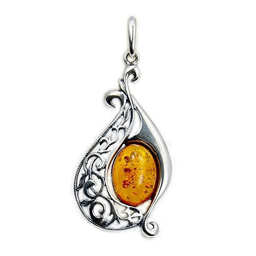 'Flirty' Sterling Silver Honey Baltic Amber Pendant - The Silver Plaza