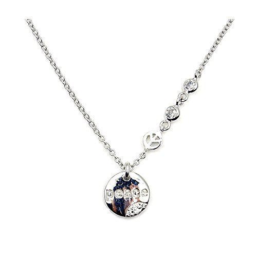 Sterling Silver CZ Peace Sign Necklace - The Silver Plaza