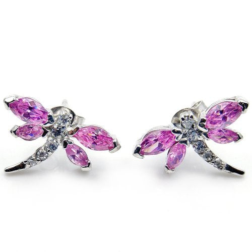 Sterling Silver Pink CZ Dragonfly Stud Earrings - The Silver Plaza
