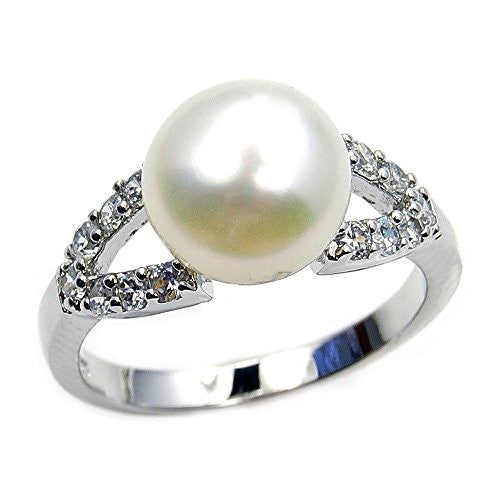 Bridal Bliss' Sterling Silver Simulated Pearl, CZ Ring, Size 7.75 - Emavera