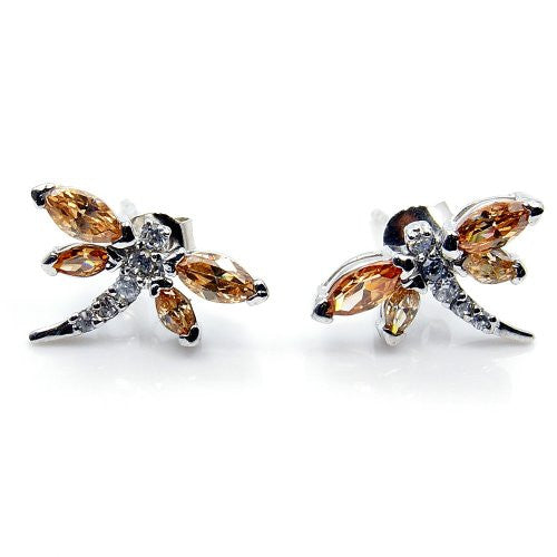 Sterling Silver Honey CZ Dragonfly Stud Earrings - The Silver Plaza