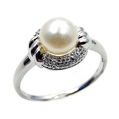 Lovely Sterling Silver Simulated Pearl, CZ Bridal Ring, Size 7 - The Silver Plaza