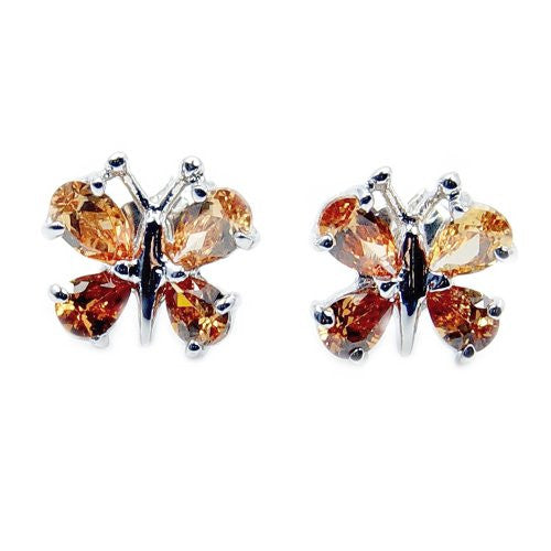'Filigree Butterfly' Sterling Silver Honey CZ Stud Earrings - The Silver Plaza