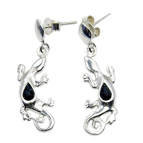 Sterling Silver Rare Volcanic Lava Rock Lizard Dangle Earrings - The Silver Plaza