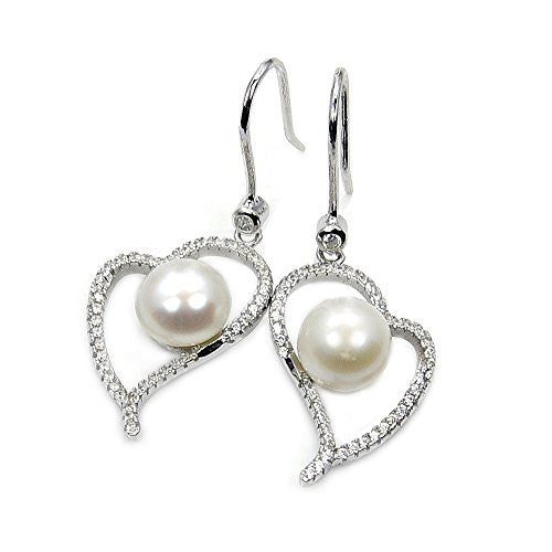 Pure Love' Sterling Silver Simulated Pearl, CZ Heart Dangle Earrings - The Silver Plaza
