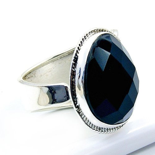 Elegant Sterling Silver Black Onyx Ring, Size 8.75 - The Silver Plaza