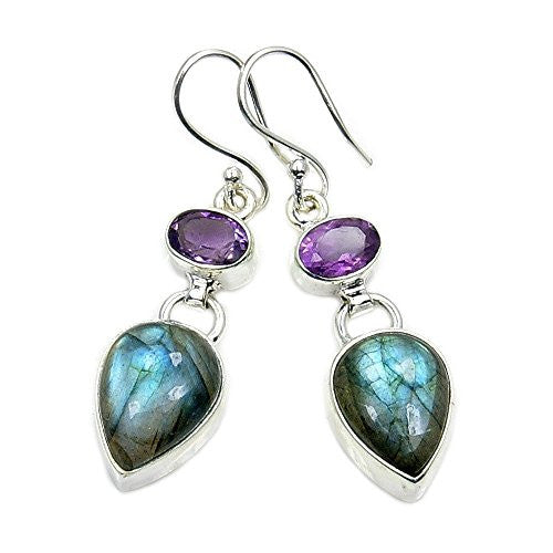 Shimmering Sterling Silver Labradorite, Amethyst Dangle Earrings - The Silver Plaza