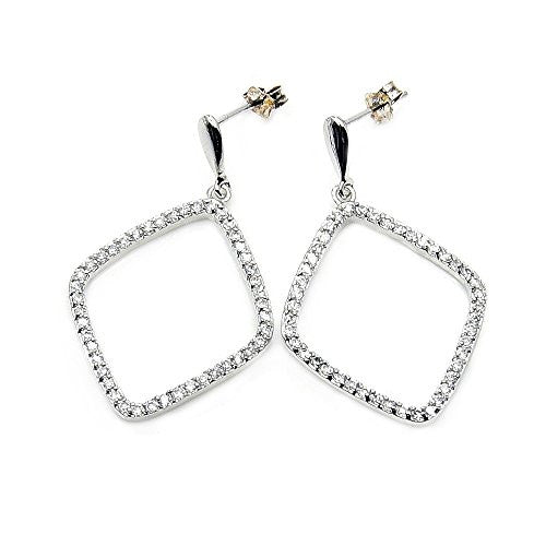 Sterling Silver Micro Pave Cubic Zirconia Geometric Earrings - The Silver Plaza