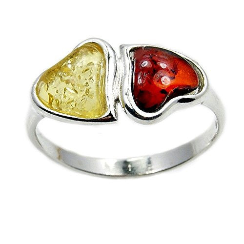 Soulmates Sterling Silver Natural Baltic Amber Heart Ring - The Silver Plaza