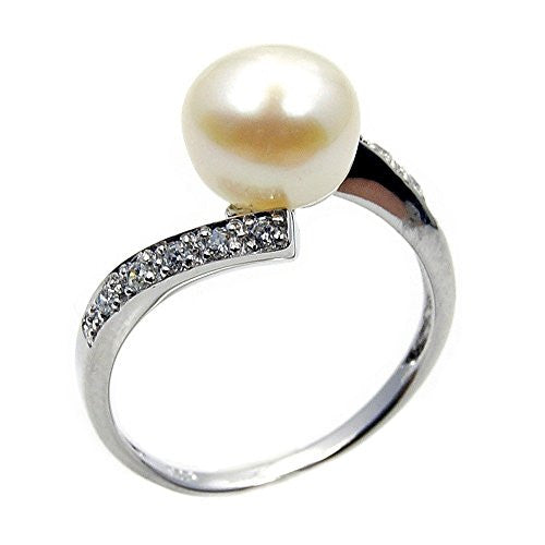 Modern Style Sterling Silver Simulated Pearl, CZ Bridal Ring, Size 7.75 - The Silver Plaza