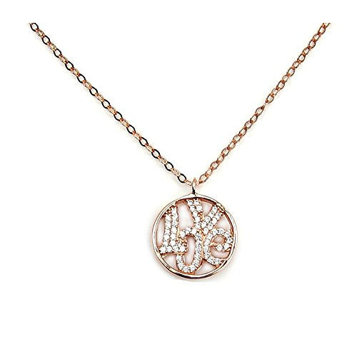 'Love Promise' Sterling Silver, Rose Gold & Cubic Zirconia Necklace - Emavera