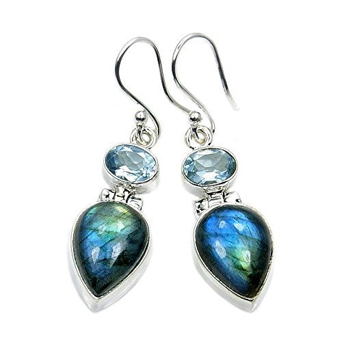 Mystic Princess' Sterling Silver Labradorite, Blue Topaz Dangle Earrings - The Silver Plaza