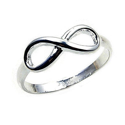 'Infinity' Solid Sterling Silver Band, Ring, Size 6.75 - The Silver Plaza