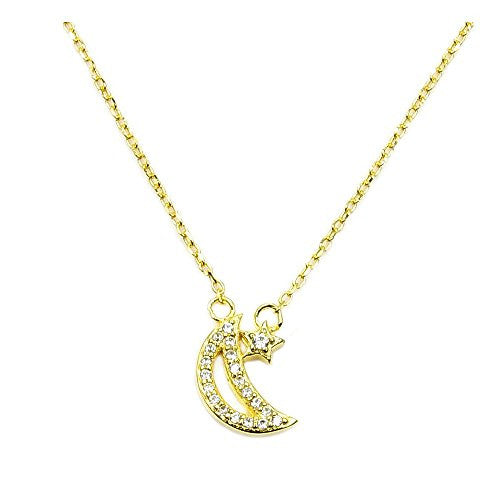 Gold Vermeil Sterling Silver, Micro Pave Cubic Zirconia Crescent Moon and Star Necklace - Emavera