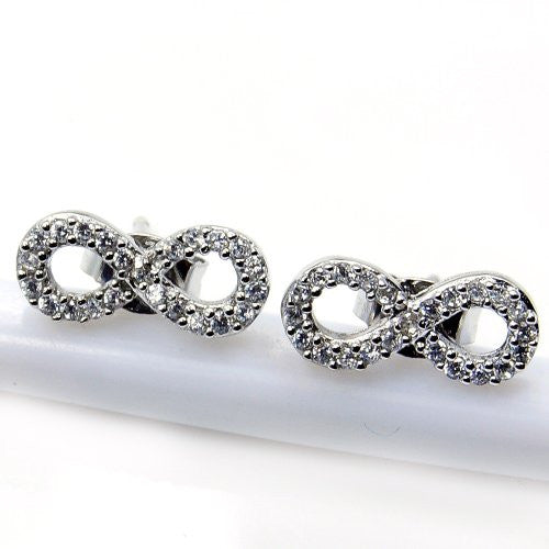 'Infinity' Sterling Silver Cubic Zirconia Stud Earrings - The Silver Plaza