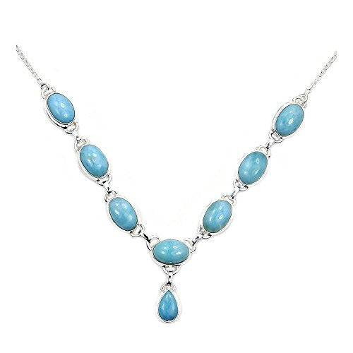 'Blue Fantasy' Sterling Silver Genuine Dominican Larimar Y-necklace - Emavera