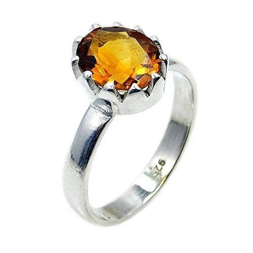 Sterling Silver Citrine Ring, Size 6.5 - The Silver Plaza