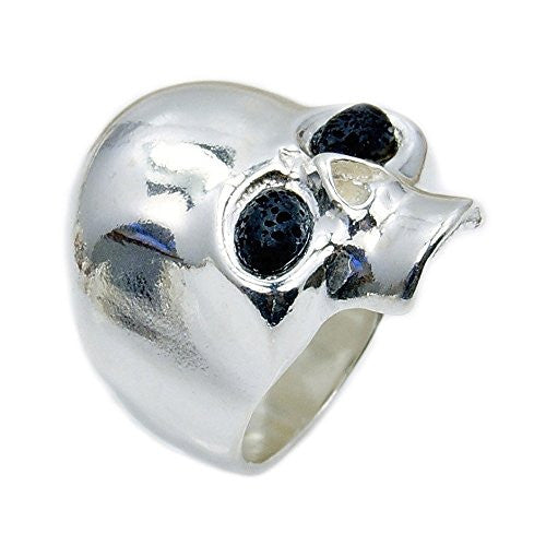 Sterling Silver Volcanic Lava Rock Skull Ring, Size 6.5 - The Silver Plaza