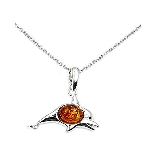 Sterling Silver Natural Baltic Amber Dolphin Pendant Necklace - Emavera