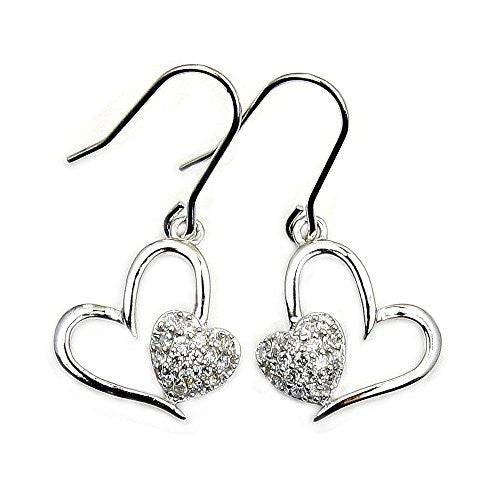 'Two Hearts Beat As One' Sterling Silver Cubic Zirconia Dangle Earrings - The Silver Plaza