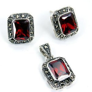 'Scarlet Rose' Sterling Silver Red CZ, Marcasite Stud Earrings & Pendant Set - The Silver Plaza
