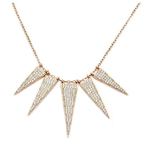 Rose Gold Over Sterling Silver, Micro Pave Cubic Zirconia 5 Triangle Bib Necklace - Emavera