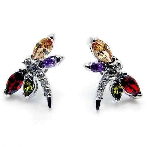 Sterling Silver Multi-gem CZ Dragonfly Stud Earrings - The Silver Plaza