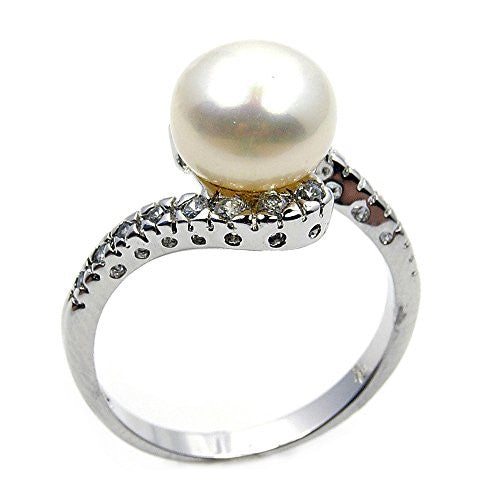 Bridal Style Sterling Silver Simulated Pearl, CZ Ring, Size 8.75 - Emavera