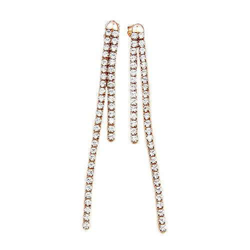Rose Gold Over Sterling Silver Micro Pave Cubic Zirconia Dangle Earrings - The Silver Plaza