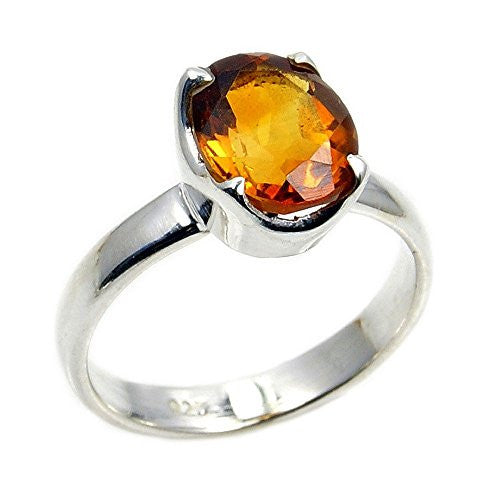 Sterling Silver Brandy Citrine Ring, Size 6.25 - The Silver Plaza
