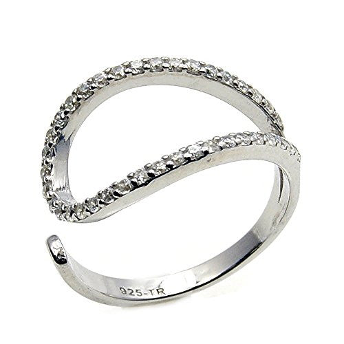 Trendy Sterling Silver Cubic Zirconia Ring, Size 6.75 - The Silver Plaza
