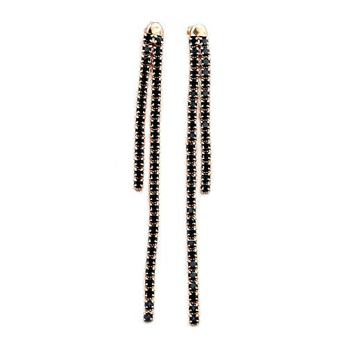 Rose Gold Over Sterling Silver Micro Pave Black Cubic Zirconia Dangle Earrings - Emavera