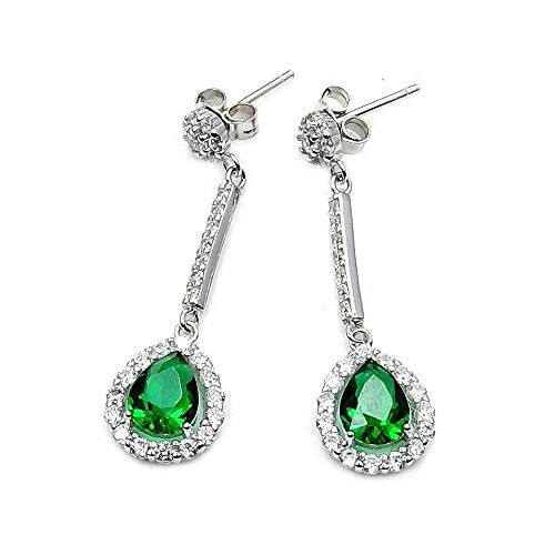 Sparkling Sterling Silver Green CZ Dangle Earrings - The Silver Plaza