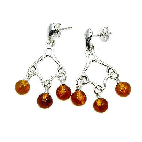 Sterling Silver Natural Baltic Amber Chandelier Dangle Earrings - The Silver Plaza