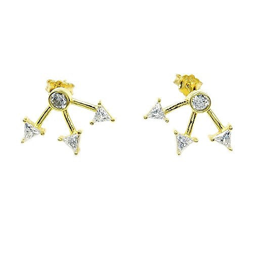 Three Arrows' Gold Vermeil Sterling Silver Cubic Zirconia Stud Earrings - The Silver Plaza