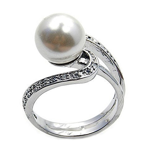 Elegant Sterling Silver Simulated Pearl, CZ Bridal Ring, Size 5.75 - The Silver Plaza