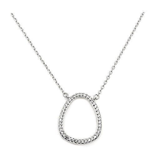 Sterling Silver Micro Pave Cubic Zirconia Stacking Necklace - The Silver Plaza