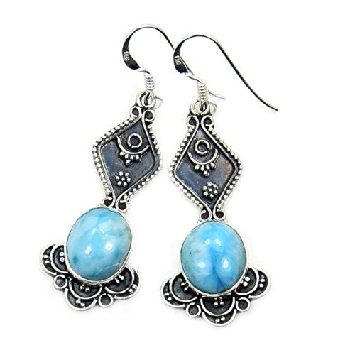 Vintage Style Sterling Silver Genuine Dominican Larimar Dangle Earrings - Emavera