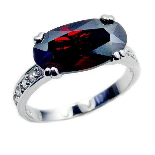Passion's Flame' Sterling Silver Red CZ Ring Size 7.75 - Emavera