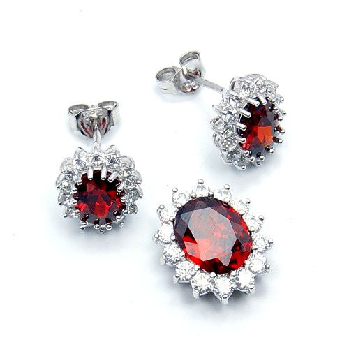 Elegant Sterling Silver Red CZ Earrings & Pendant Set - Emavera