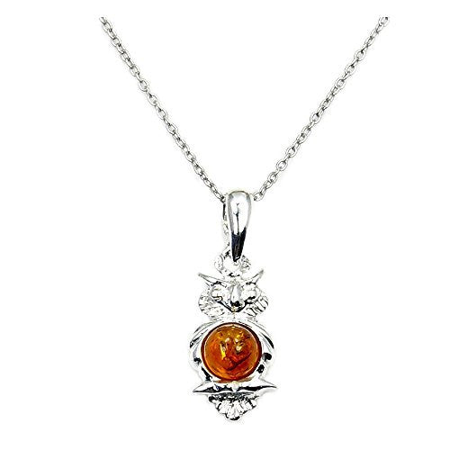 Sterling Silver Natural Baltic Amber Owl Pendant Necklace - The Silver Plaza