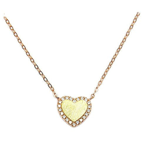 Rose Gold Over Sterling Silver, Gold Vermeil, Micro Pave Cubic Zirconia Heart Necklace - The Silver Plaza