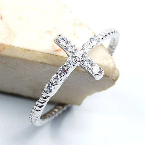 'Cross of Faith' Cubic Zirconia & Sterling Silver Ring Size 6.75 - The Silver Plaza