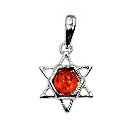 Sterling Silver Natural Baltic Amber Jewish Star of David Pendant - The Silver Plaza