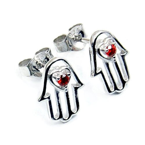 Protection' Hamsa Hand of God Fatima Sterling Silver Red CZ Stud Earrings - The Silver Plaza