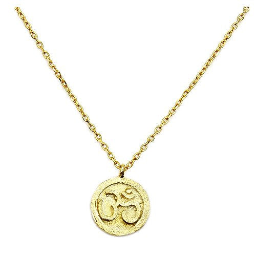 Solid Sterling Silver Gold Vermeil Om (Aum) Symbol Pendant Necklace - The Silver Plaza