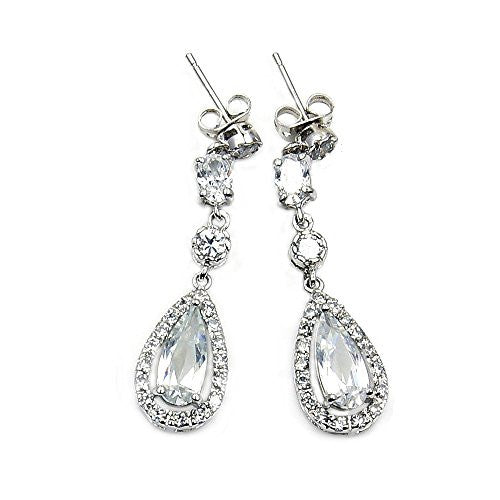 'Ice Princess' Sterling Silver CZ Dangle Earrings - The Silver Plaza
